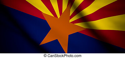 Arizona - High detailed waving flag of different countries...