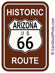 Arizona Historic Route 66 traffic sign with the legend...