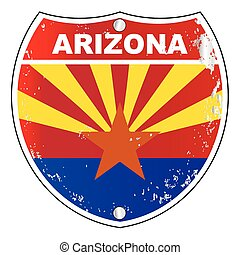 Arizona Interstate Sign - Arizona interstate sign with flag...