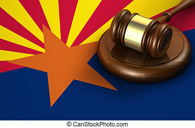 Arizona US state law, code, legal system and justice concept with a 3d render of a gavel on the Arizonan flag on background.