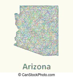 Arizona line art map