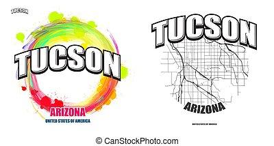 arizona, logo, gestaltungsarbeiten, zwei, tucson