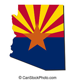 Arizona Map flag illustration - Map and flag of the State of...