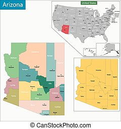Arizona map - Map of Arizona state designed in illustration...