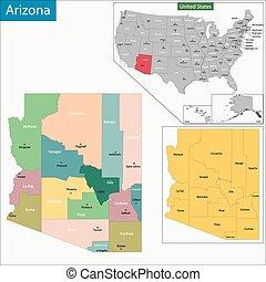 Arizona map - Map of Arizona state designed in illustration...