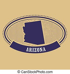 Arizona map silhouette - oval stamp
