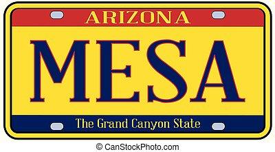 Arizona Mesa State License Plate - Mesa Arizona state city...
