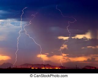 Arizona Monsoon Lightning 2012C - Three bolts of lightning...