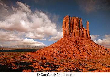 arizona, nação, monumento, butte, navajo, vale