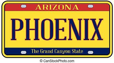 Arizona Phoenix State License Plate - Phoenix Arizona state...