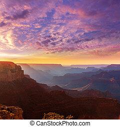 arizona, punto, parque nacional, cañón, ocaso, magnífico, ...