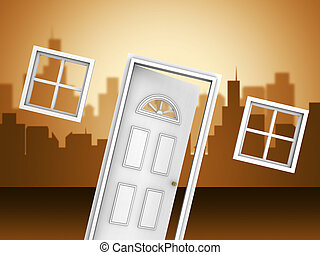 Arizona Real Estate Doorway Icon Represents Purchasing Or Buying In Az Usa 3d Illustration