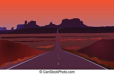 arizona, route, paysage