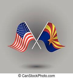arizona, símbolos, -, palos, estados unidos de américa, vector, norteamericano, américa, dos, unido, plata, estados, cruzado, bandera