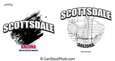 arizona, scottsdale, logo, deux, dessin-modèles