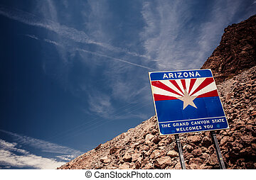 Arizona sign at Hoover Dam on the border with Nevada
