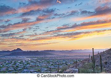 arizona, sonnenuntergang, und, wanderpfad