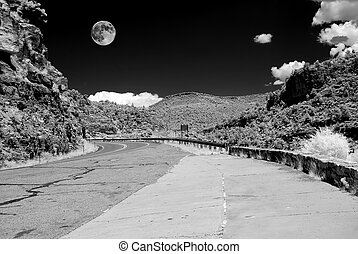 Arizona Sonora Desert Moon and road in infrared monochrome