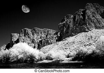 Arizona Sonora Desert Moon at Salt River in infrared monochrome