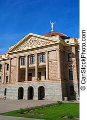 Arizona State Capital with pillars, copper dome, angel and...