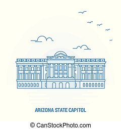 ARIZONA STATE CAPITOL Blue Landmark. Creative background and...