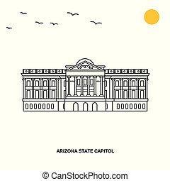 ARIZONA STATE CAPITOL Monument. World Travel Natural illustration Background in Line Style