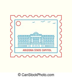 ARIZONA STATE CAPITOL postage stamp Blue and red Line Style,...