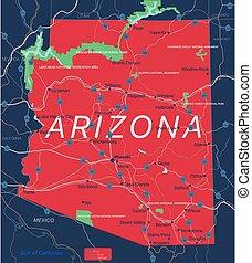 Arizona state detailed editable map