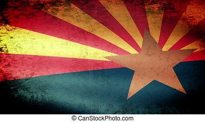 Arizona State Flag Waving, grunge