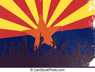 Arizona State Flag with Audience