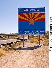 Arizona State line - Welcome to Arizona State sign post on...