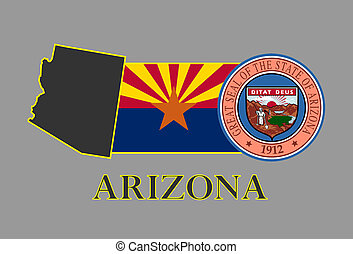 Arizona state map, flag, seal and name.