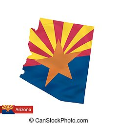 Arizona state map with waving flag of US State.