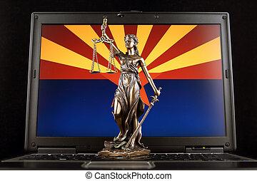 arizona, symbole, justice, laptop., studio, droit & loi, drapeau état, prise vue.
