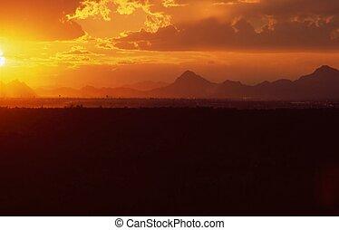 arizona, tramonto, tucson