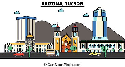 Arizona, Tucson. City skyline: architecture, buildings, streets, silhouette, landscape, panorama, landmarks, icons. Editable strokes. Flat design line vector illustration concept.