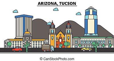 Arizona, Tucson. City skyline: architecture, buildings, streets, silhouette, landscape, panorama, landmarks, icons. Editable strokes. Flat design line vector illustration concept.