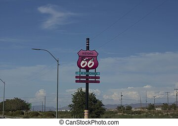 Historic Route 66 pink road sign