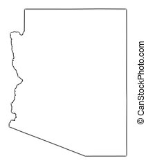 Arizona (USA) outline map with shadow. Detailed, Mercator projection.