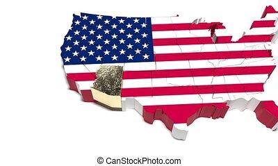 arizona, usa., politiek, arizona., map., staat