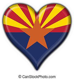 arizona, (usa, state), botão, bandeira, forma coração