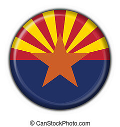 arizona, (usa, state), botão, bandeira, redondo, forma
