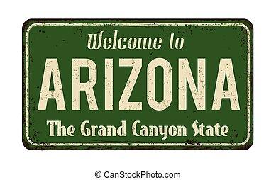arizona, vindima, bem-vindo, sinal metal, enferrujado