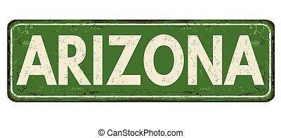 arizona, vindima, metal enferrujado, sinal