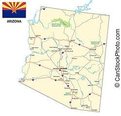 arizona, wegenkaart, met, vlag