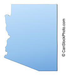 Arizona(USA) map filled with light blue gradient. High...