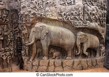 Arjuna cave, mahabalipuram, chennai