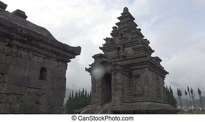 Arjuna Temple ancient hindu temple complex with steam,Java...