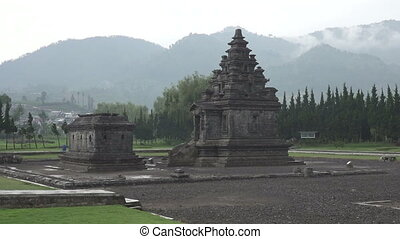Arjuna Temple ancient hindu temple complex with steam,Java...