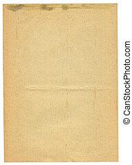 ark, av, gammal, fläckat, papper